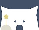 Peek-a-Boo Bear with Gold Star and Gray Paw on Navy Blue by Kendra Shedenhelm