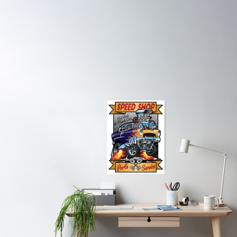 Speed Shop Hot Rod Muscle Car Parts and Service Vintage Cartoon Illustration Poster