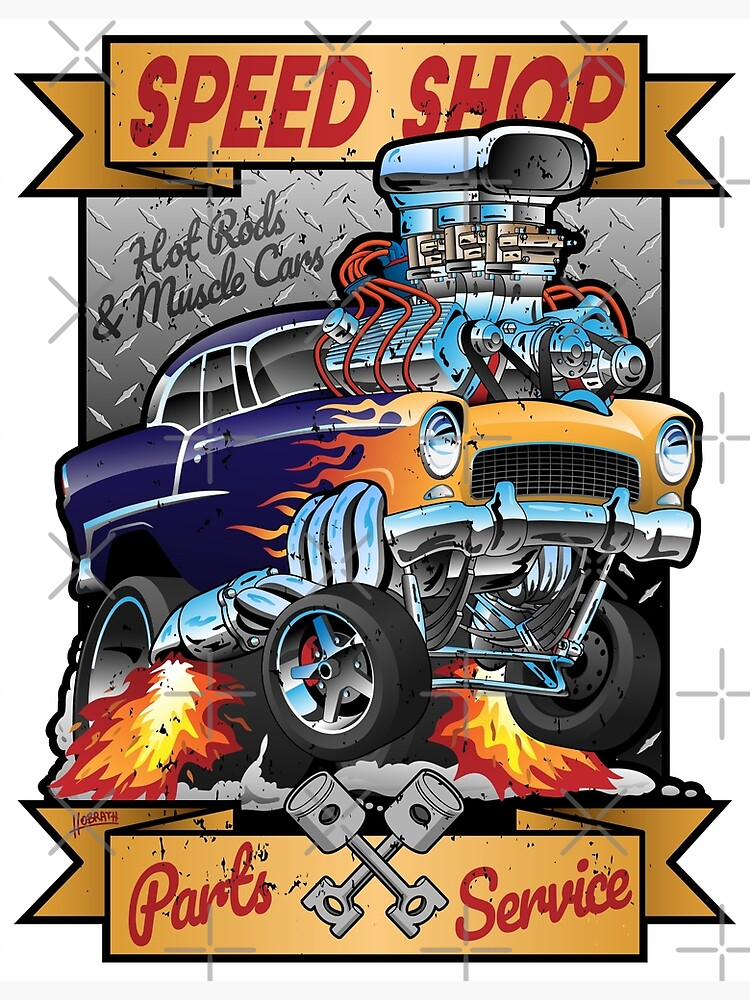 Speed Shop Hot Rod Muscle Car Parts and Service Vintage Cartoon Illustration by hobrath