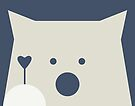 Peek-a-Boo Bear with Heart and Gray Paw on Navy Blue by Kendra Shedenhelm