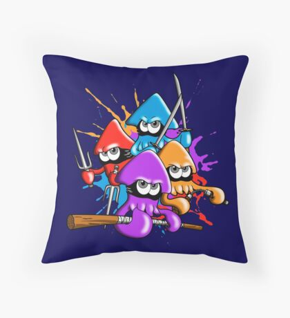 Teenage splatter ninja squids. Throw Pillow