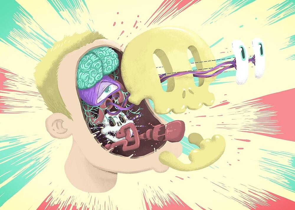 Exploding skull by Hurtu