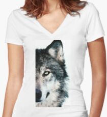 Wolf Art - Timber Women's Fitted V-Neck T-Shirt