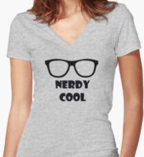 Nerdy Cool Women's Fitted V-Neck T-Shirt