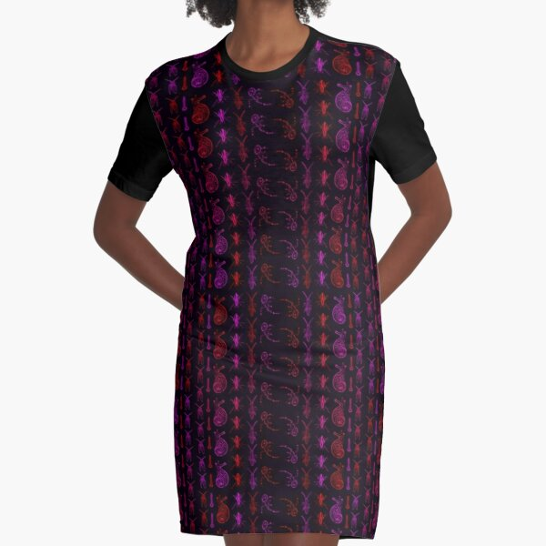 Neon Insect Stripes 2  Graphic T-Shirt Dress