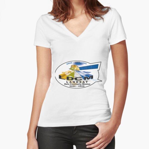 Landsat 8 - Data Continuity Mission Logo Fitted V-Neck T-Shirt