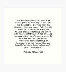 Sie war schön f Scott Fitzgerald Zitat Kunstdruck