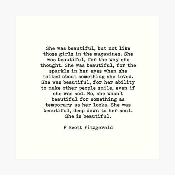 She Was Beautiful, F Scott Fitzgerald, Quote Art Print