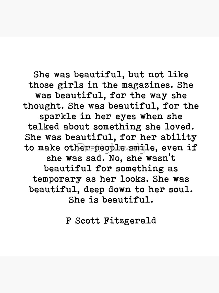She Was Beautiful, F Scott Fitzgerald, Quote by PrettyLovely