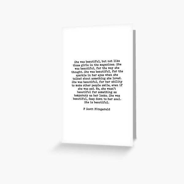 She Was Beautiful, F Scott Fitzgerald, Quote Greeting Card