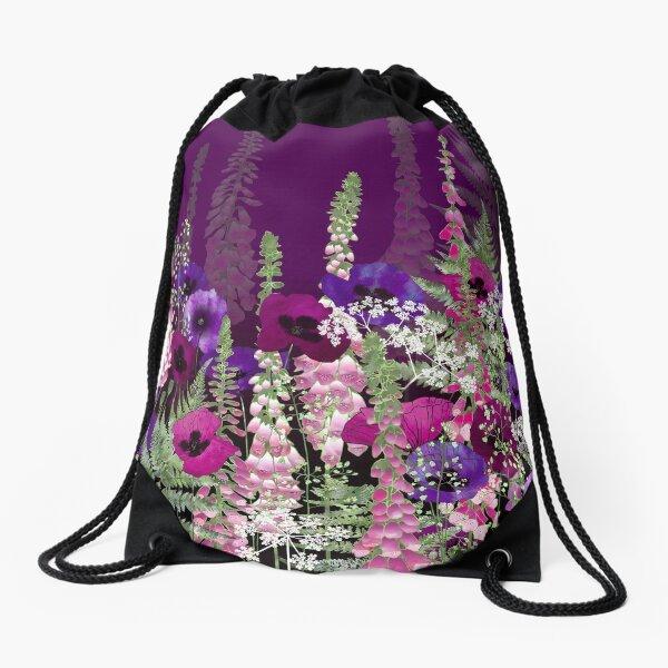 Flower Garden - Purple Poppies, Pink Foxgloves & Bracken Drawstring Bag
