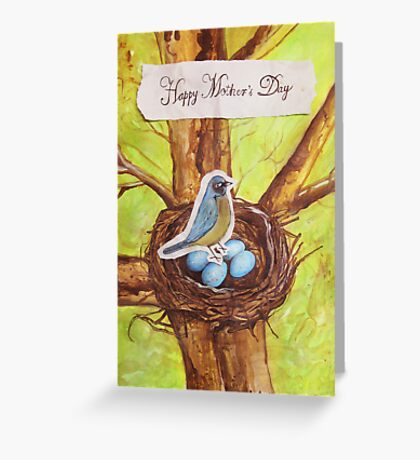 Happy Mothers Day (Blue Robin) Greeting Card