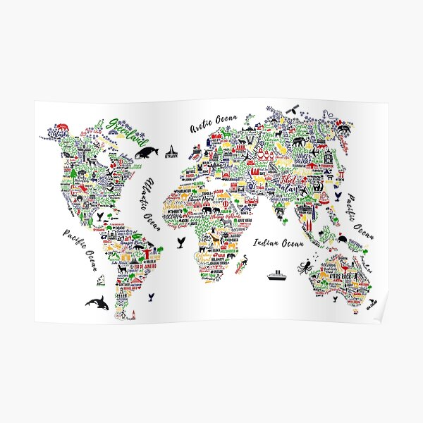 Typography World Map. Travel Poster with cities and sightseeing attractions.  Poster