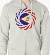 American Samoa Multinational Patriot Flag Series Zipped Hoodie