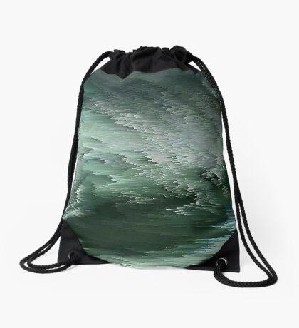 Green waves Drawstring Bag