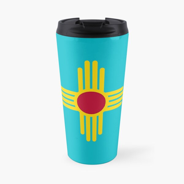 New Mexico Flag in Turquoise Travel Mug
