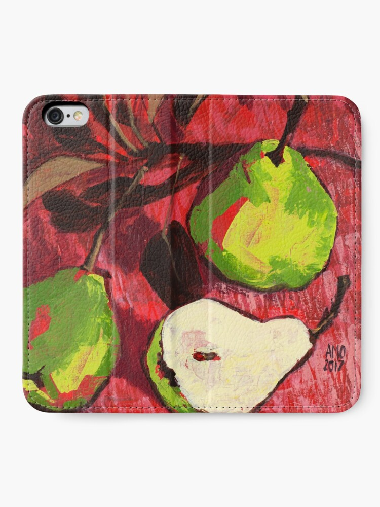 Alternate view of Large Green Pears on Red iPhone Wallet