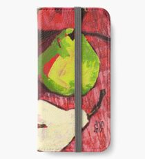 Large Green Pears on Red iPhone Wallet/Case/Skin