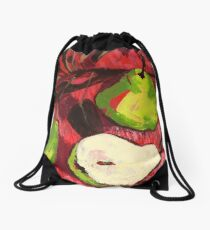 Large Green Pears on Red Drawstring Bag