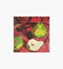Large Green Pears on Red Art Board
