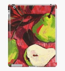 Large Green Pears on Red iPad Case/Skin
