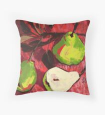 Large Green Pears on Red Throw Pillow