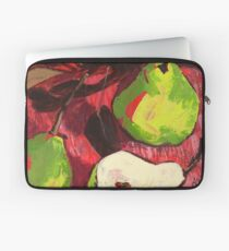 Large Green Pears on Red Laptop Sleeve