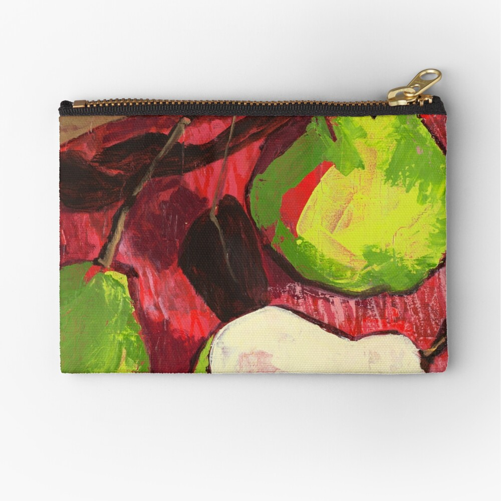Large Green Pears on Red Zipper Pouch