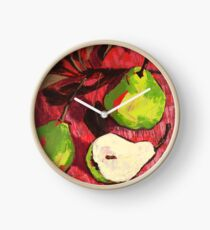 Large Green Pears on Red Clock
