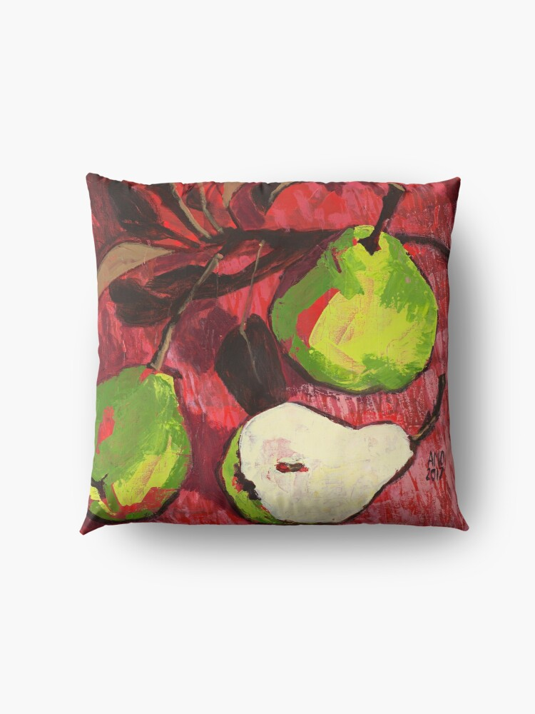 Alternate view of Large Green Pears on Red Floor Pillow