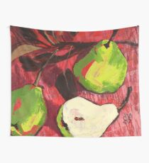Large Green Pears on Red Wall Tapestry