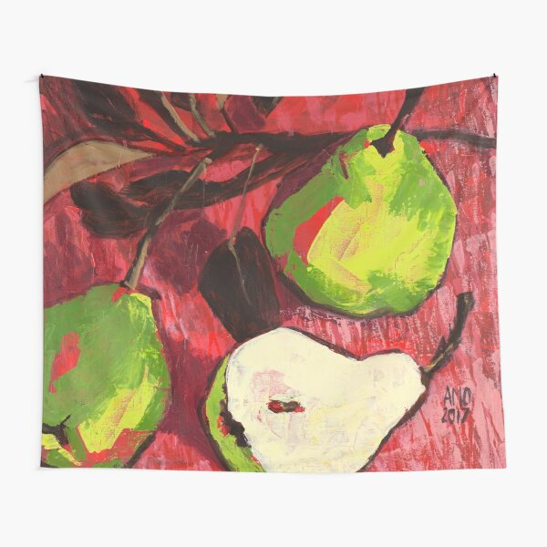 Large Green Pears on Red Tapestry