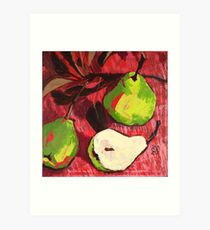 Large Green Pears on Red Art Print