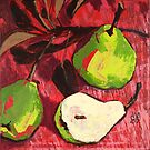 Large Green Pears on Red by AMOpainting