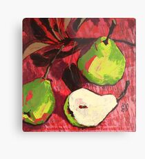 Large Green Pears on Red Metal Print
