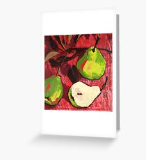 Large Green Pears on Red Greeting Card