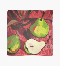 Large Green Pears on Red Scarf