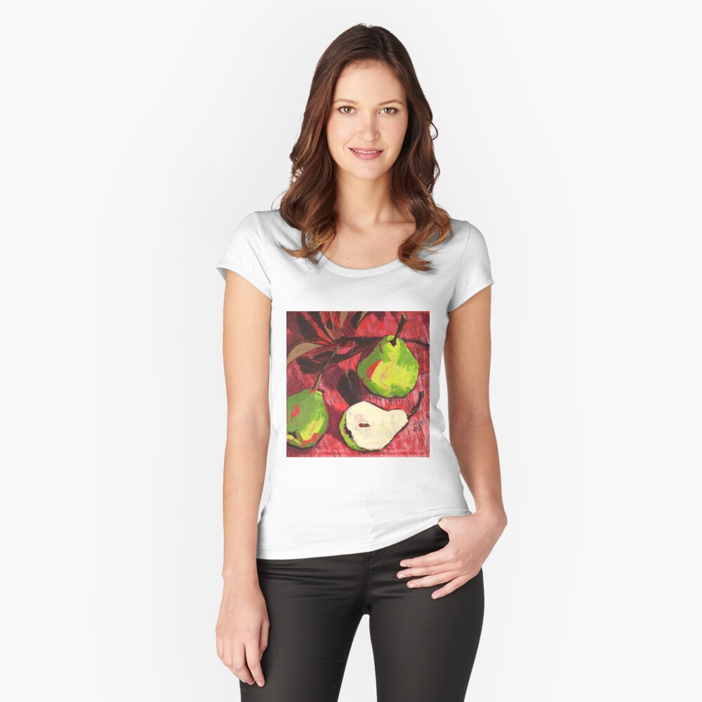 Large Green Pears on Red Fitted Scoop T-Shirt