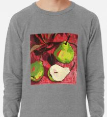 Large Green Pears on Red Lightweight Sweatshirt