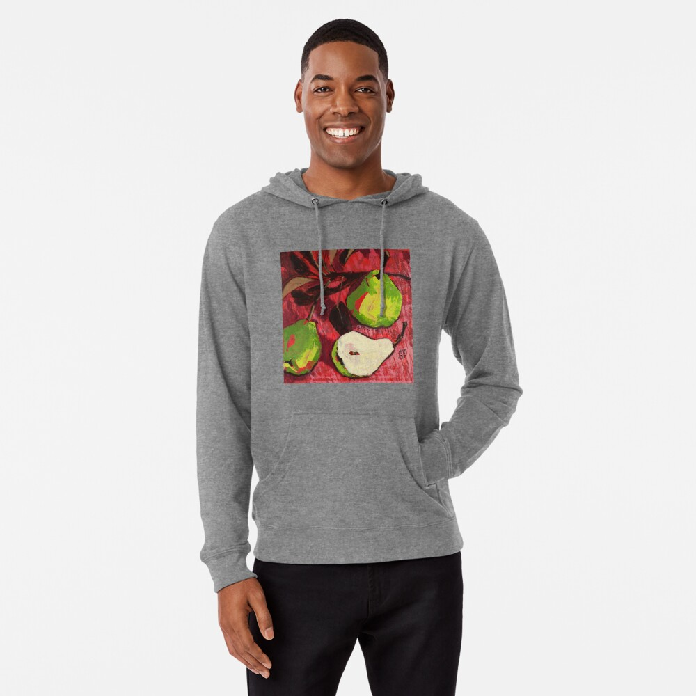 Large Green Pears on Red Lightweight Hoodie