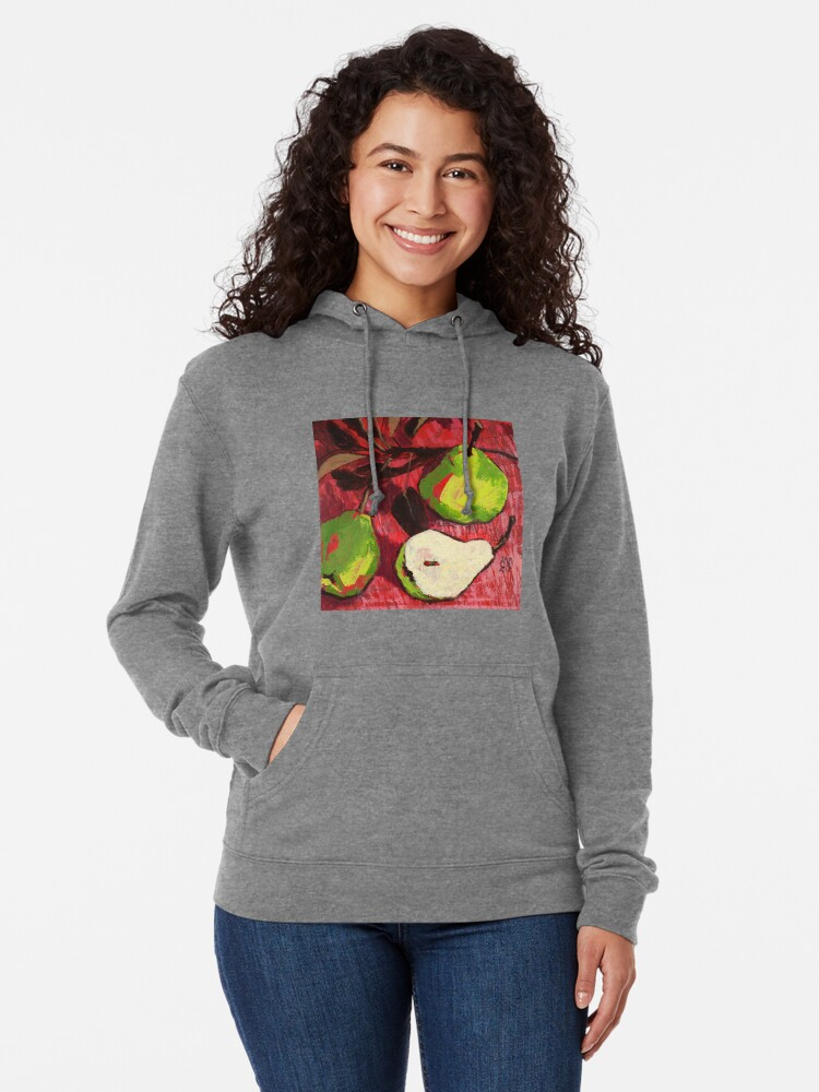 Alternate view of Large Green Pears on Red Lightweight Hoodie