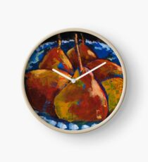 Red Pears in Blue Bowl Clock