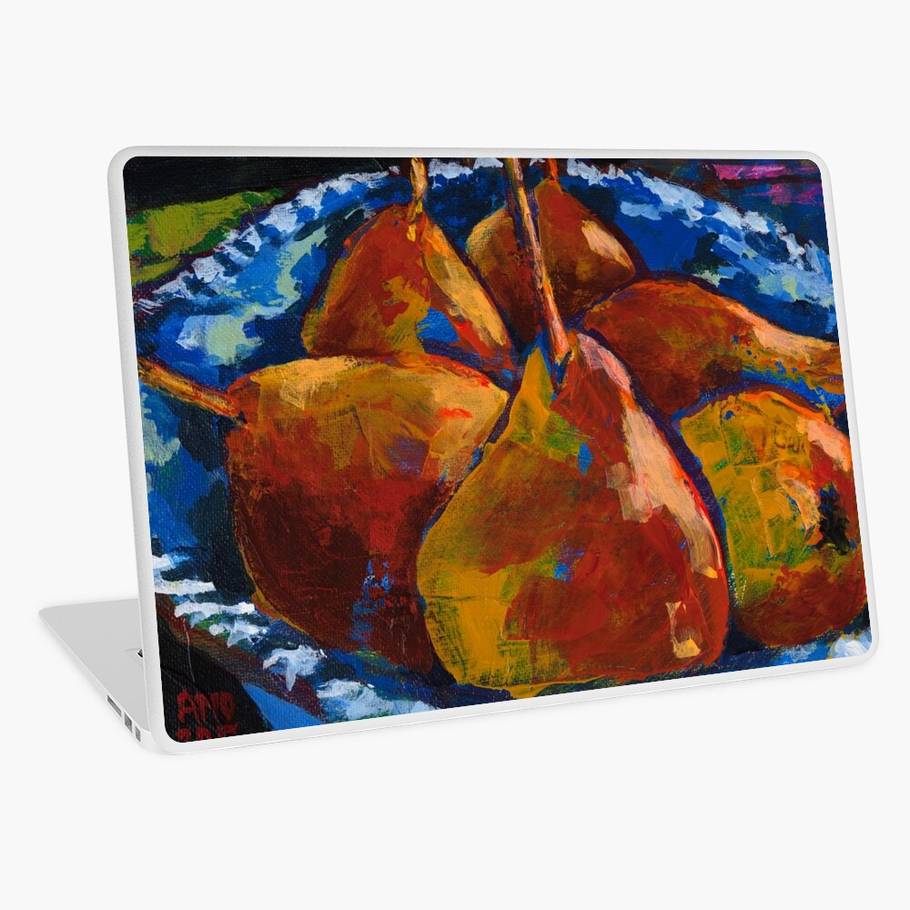 Red Pears in Blue Bowl Laptop Skin