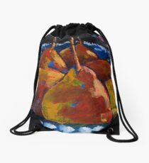 Red Pears in Blue Bowl Drawstring Bag