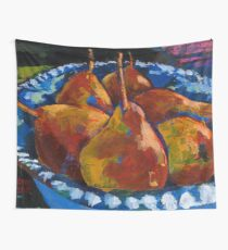 Red Pears in Blue Bowl Wall Tapestry