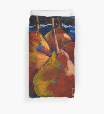Red Pears in Blue Bowl Duvet Cover