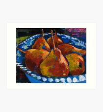 Red Pears in Blue Bowl Art Print