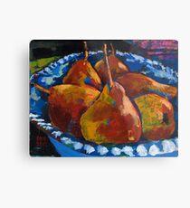 Red Pears in Blue Bowl Metal Print
