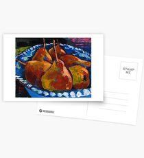 Red Pears in Blue Bowl Postcards