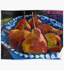 Red Pears in Blue Bowl Poster